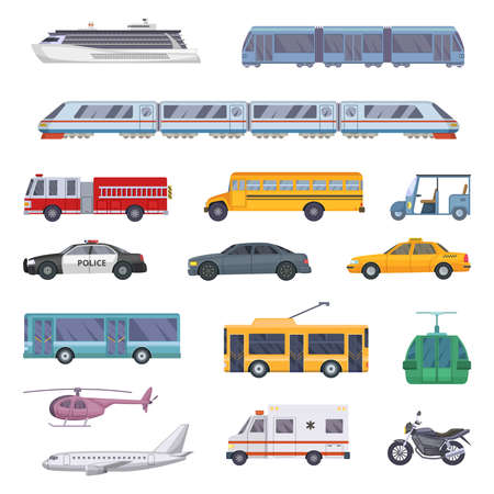 Different municipal transportation set. Vector illustrations of cars