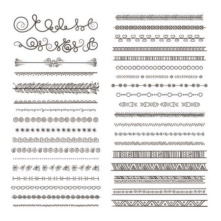 Vector borders and dividers. Hand drawn frames isolate on white