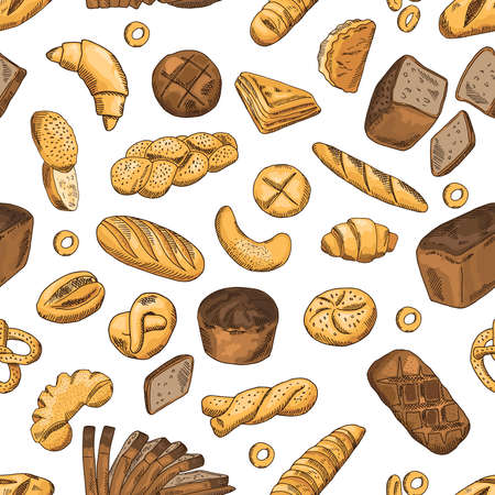 Bun, bagel, baguette and other bakery foods. Vector seamless pattern in retro style