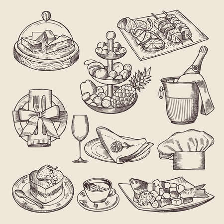 Different pictures for restaurant menu in retro style. Vector hand drawn illustrations