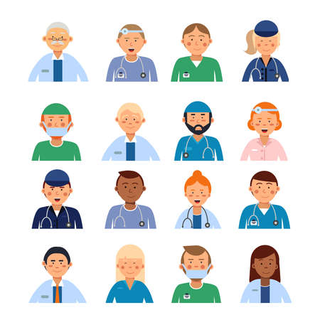 Male and female medical characters in different professional clothes. Peoples in hospital avatar set Vector Illustration