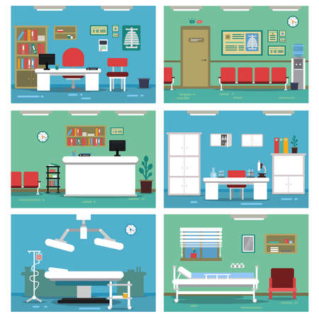 Illustrations of empty medical offices. Different rooms in hospital. Vector pictures set
