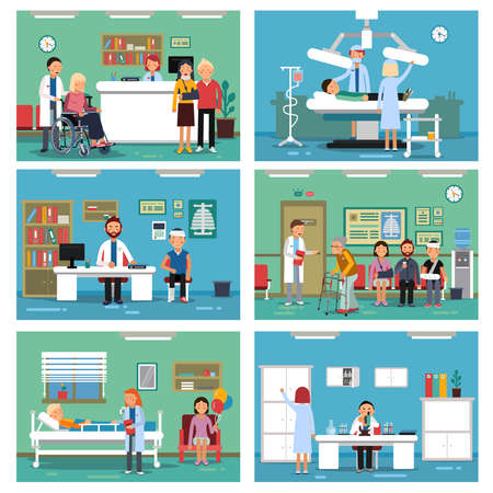 Medical personnel at work. Nurse doctor and patients in hospital interiors. Vector illustration Vetores
