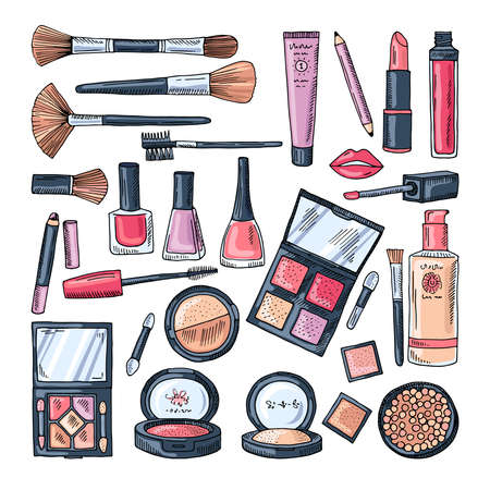 Makeup products for women. Colored hand drawn illustrations of different cosmetic accessories Vektorové ilustrace