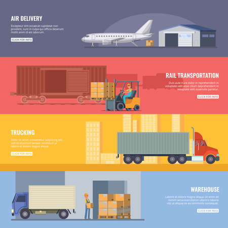 Horizontal banners of delivery or logistics services. Trucking industry. Fast transportation. Vector illustrations in cartoon style Vektorové ilustrace