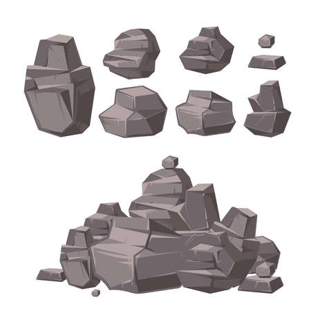 Cartoon 3d rock, granite stones, stack of boulders vector set, architecture elements for landscaping design