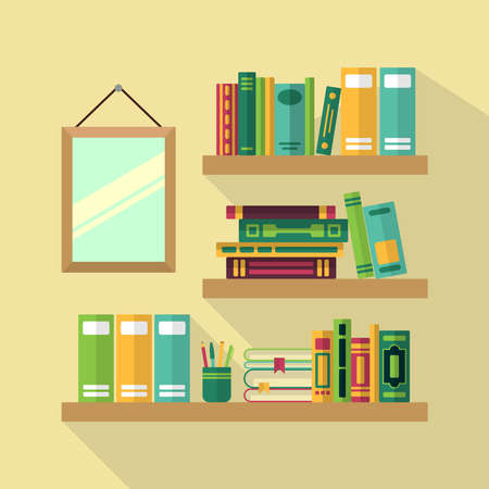 Wood bookshelf in library with different books. Vector illustrations Vektorové ilustrace