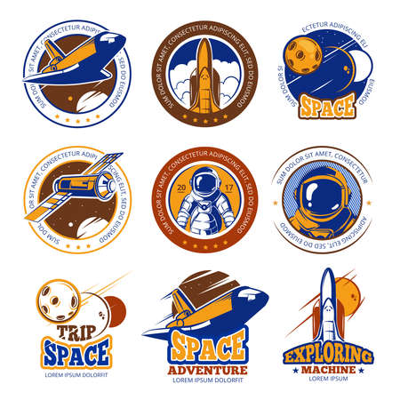 Astronaut flight, aviation, space shuttle and rockets vintage vector labels, logos, badges, emblems. Travel in galaxy, illustration travel in cosmos Logo