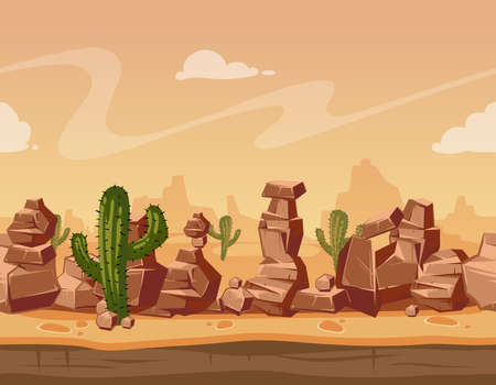 Vector cartoon seamless landscape with stones and cactus. Game wild background illustration. Nature scene landscape seamless with mountain desert, panorama nature with green cactus