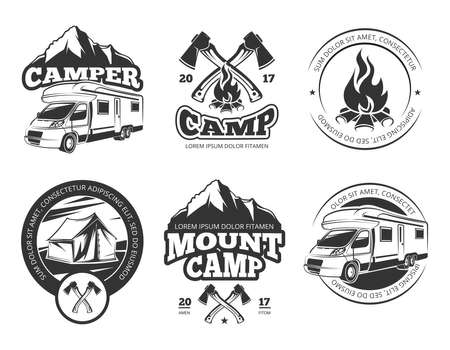 Vintage vector labels set with camper near mountain, tent and firtrees. Monochrome camping logo elements. Emblem outdoor adventure camp, illustration of vintage mountain camp label Logo