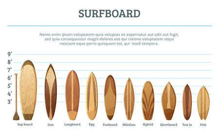 Vector set of different hawaiian surfboards isolate on white background. Surfing surfboard woooden, illustration of surf board for water sport