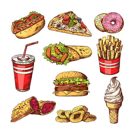 Fast food pictures. Burgers, cola sandwich hotdog and french fries. Hand drawn color vector illustrations. Burger fast food, sandwich and pizza fastfood Ilustración de vector