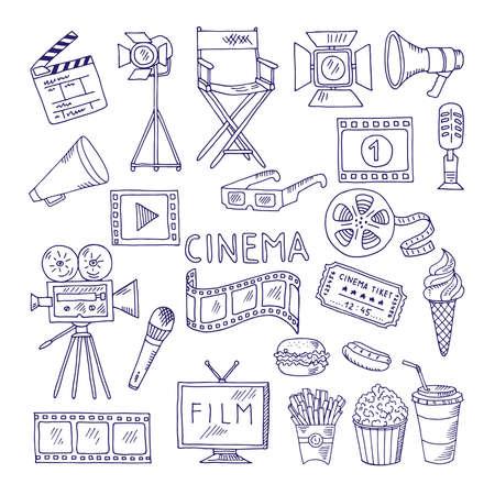 Cinematography doodle set. Video movie entertainment icons. Video cinema multimedia, movie film illustration