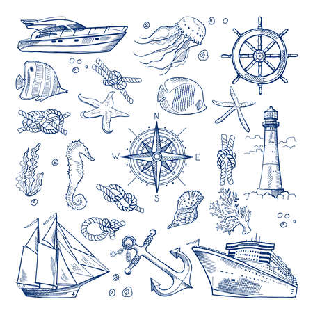 Sea or ocean underwater life with different animals and marine objects. Vector pictures in hand drawn style. Marine life sketch, nature animal fish illustration Vettoriali