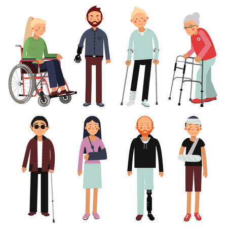 Flat style illustration set of disabled people in different poses. Vector pictures of hospital patients isolated. Invalid disabled person in wheelchair, disability man Vector Illustration