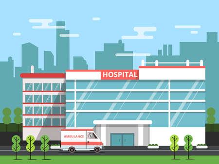 Health center, exterior of hospital building. Ambulance vector illustration. Clinic exterior, medical architecture hospital Vektoros illusztráció
