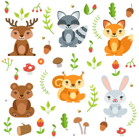 Funny forest animals and floral elements isolate on white background. Vector illustration cartoon animal deer and bear, raccoon and squirrel animals