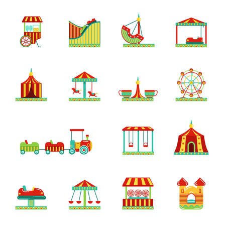 Icon set of attractions in amusement park. Circus, carousel and other vector illustrations in flat style. Color attraction icons collection 벡터 (일러스트)