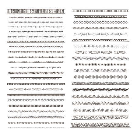 Tribal borders illustrations in boho style. Vector collection isolate. Hand drawn pictures monochrome border ethnic tribal ornament pattern Vektorové ilustrace
