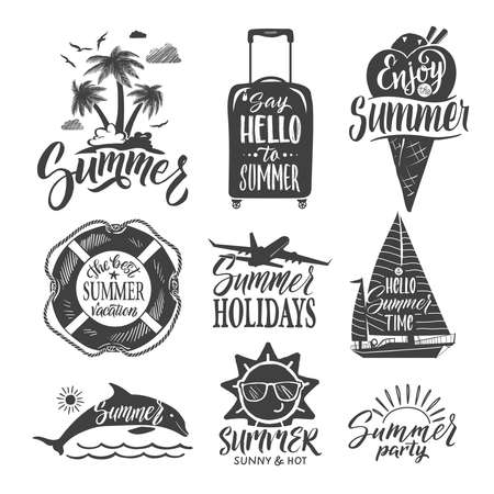 Text logo for summer party. Hand drown letters and design elements. Vector ilustrations set. Summer time vacation, travel summer party