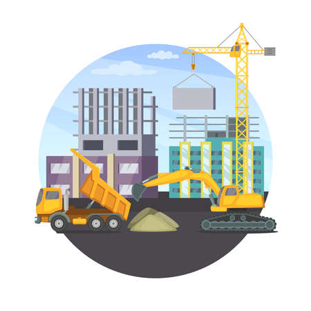 Construction concept with unfinished modern building and different heavy machines. Vector illustration. Machinery truck bulldozer transport