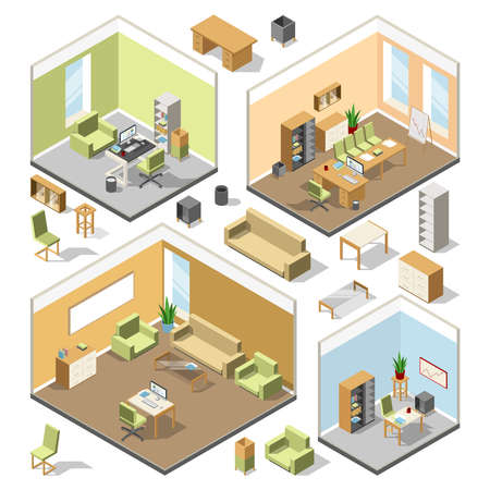 Different isometric workspaces with sectional furniture. Vector 3d architectural plan. Isometric interior office cabinet with modern computer and table illustration Vektoros illusztráció