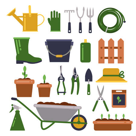 Different work tools for gardening. Vector icons set in flat style. Garden equipment wheelbarrow and pruner for farming illustration