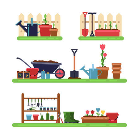 Gardens landscape with different furniture. Summer outdoor vector. Trowel and pruner, illustration of rake and cutter for garden