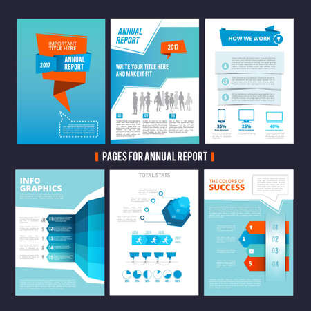 Design template of corporation annual report. Vector pages layout with place for your text. Illustration of page brochure template for corporate company
