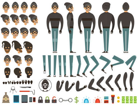 Mascot or character design of bandit. Vector creation kit with specific elements and different body parts. Man burglar construction leg and hand illustration