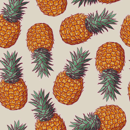 Seamless pattern with vector illustrations of pineapples. Summer exotic fruit seamless background