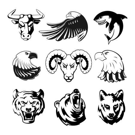Heads of animals for sport symbols. Grizzly, bear and eagle. Monochrome mascots illustrations for labels. Wolf, shark and ram. Big vector set of animals heads tattoo