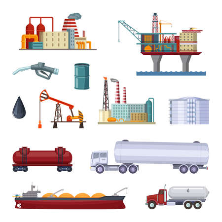 Oil exploration. Petroleum factory with platforms and terminal. Manufacturing terminal gasoline and petroleum. Vector illustration