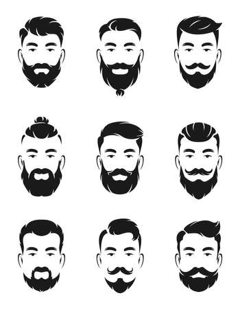 Monochrome avatar systems of hipsters portraits and face elements. Man mustache, beard. Hipster head character man black white. Vector illustration Ilustração Vetorial