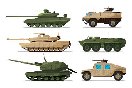 Military vehicle. Different artillery machines support. Heavy army transport isolated on white. Illustrations in flat style military weapon machine, vehicle tank and artillery
