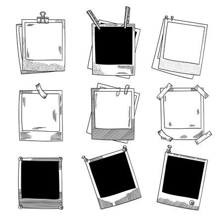 Hand drawn photo frames. Vintage vector illustration set. Photo sketch hand drawn vintage