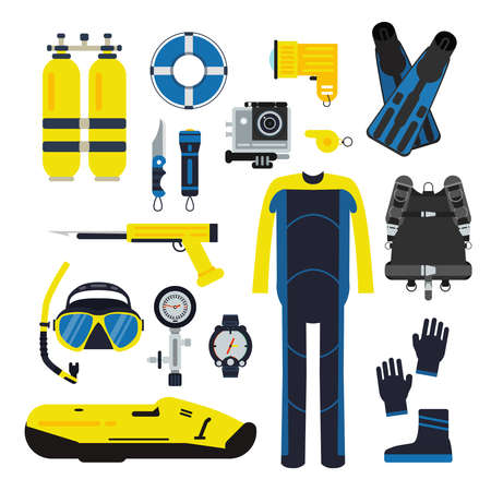 Diver and set elements for underwater sport. Illustrations of diving in flat style. Underwater equipment scuba and mask, snorkeling and tube