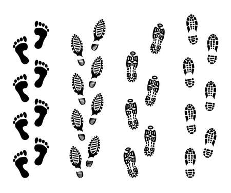 Footsteps isolate on white background. Footprint symbols vector illustrations set. Imprint foot black, and print foot