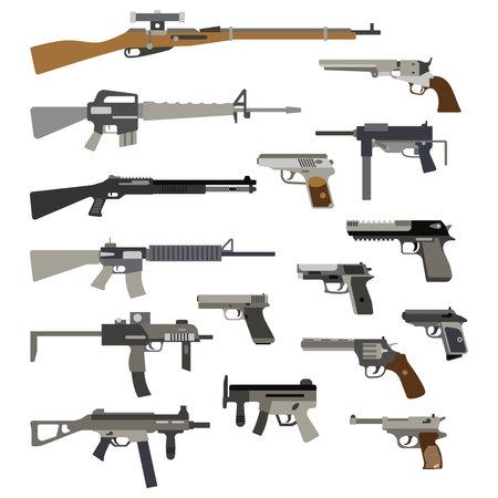 Different automatic weapons. Vector of guns and pistols. Military rifle and revolver, machine gun illustration Vektorgrafik