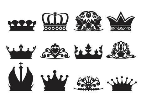 Silhouette of diadems and crowns. Vector monochrome pictures isolate. Crown queen or princess, luxury crown decoration illustration