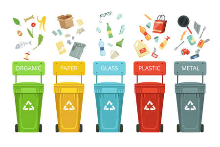 Plastic containers for garbage of different types. Vector illustrations in cartoon style. Container for garbage and waste, metal paper and glass