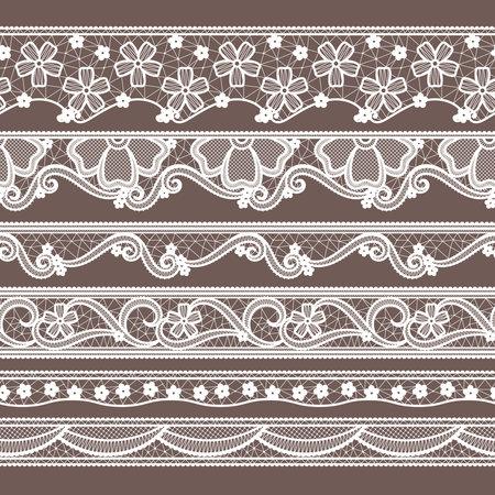 Set of six lace ribbons horizontal seamless patterns. Vector needlework illustrations. Lace pattern decoration textile