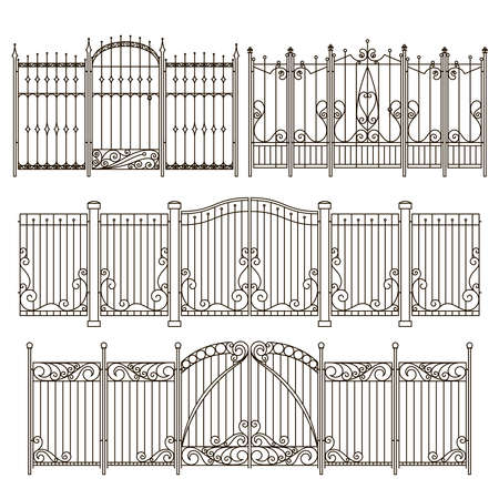 Iron gate and fence design with different decorative elements. Vector illustrations gate and fence board protection