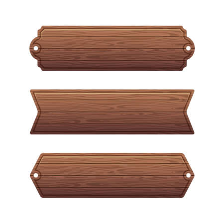Set of various wooden banners. Wood board banner, wooden frame texture, vector illustration