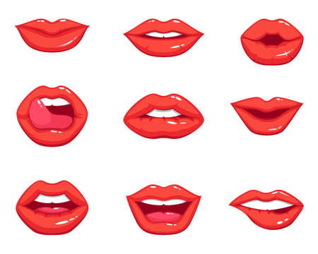 Different shapes of female red lips. Vector illustrations in cartoon style. Sexy lips makeup, kiss mouth