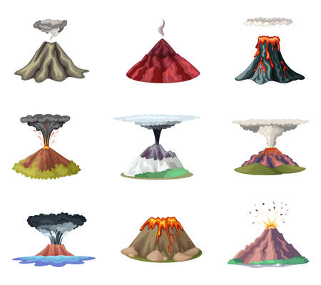 Vector set of mountains and hot explosion of volcano. Illustration of volcano eruption and explosion after earthquake