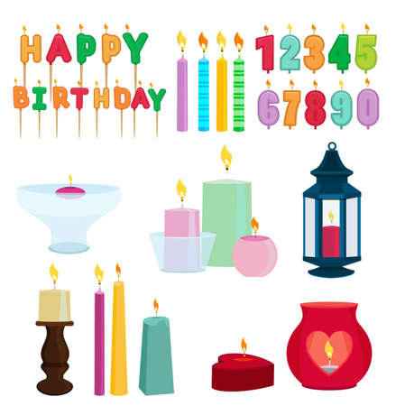 Funny colored candles for birthday party. Cartoon vector set of birthday candle numeral illustration Vektorové ilustrace