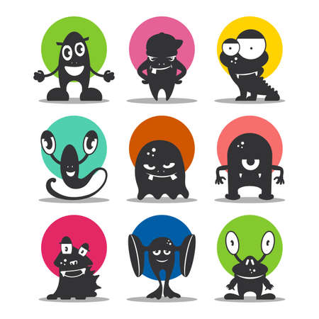 Cute cartoon avatars and icons. Black monsters set. Collection of funny aliens. Vector illustration