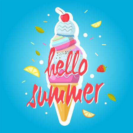Hello summer ice cream cone, colorful background. Color sweet ice cream food, dessert ice-cream, vector illustration