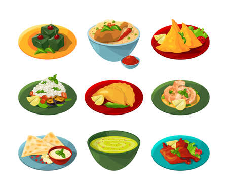 Cartoon set of traditional indian food in different dishes. Indian food delicious with sauce and spicy. Vector illustration